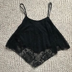 Wet Seal Tops - NEW Wet Seal Black Lace Flounce Crop Top Small